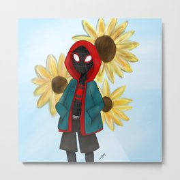 Miles Morales Sunflower Metal Print