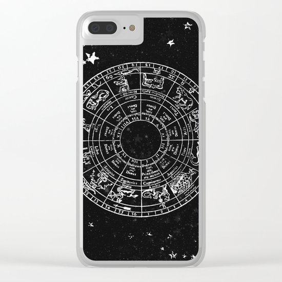 Black and White Vintage Star Map Clear iPhone Case