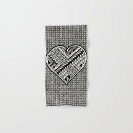 Modern, black and white, geometric shaped heart Hand & Bath Towel