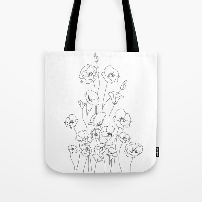 Poppy Flowers Line Art Tote Bag