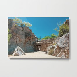 Stone Wall Entrance to Desert Canyon Metal Print