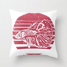 Betta Splendens Retro design I Siamese Fighting Fish Gift Throw Pillow