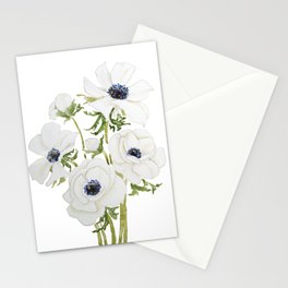 white anemone flower  watercolor painting Stationery Cards