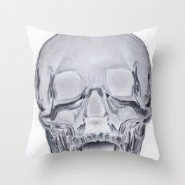 Glass Skull Rendering Throw Pillow