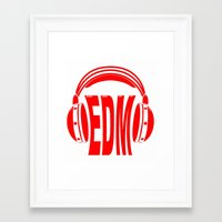 edm Framed Art Prints featuring EDM Style Headphones by Mark