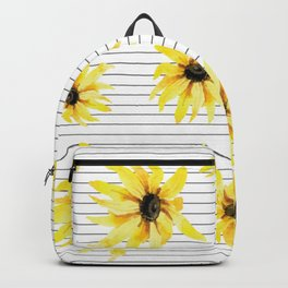 Bright Yellow Daisies on Stripes Backpack