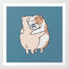 English Bulldog Hugs Art Print