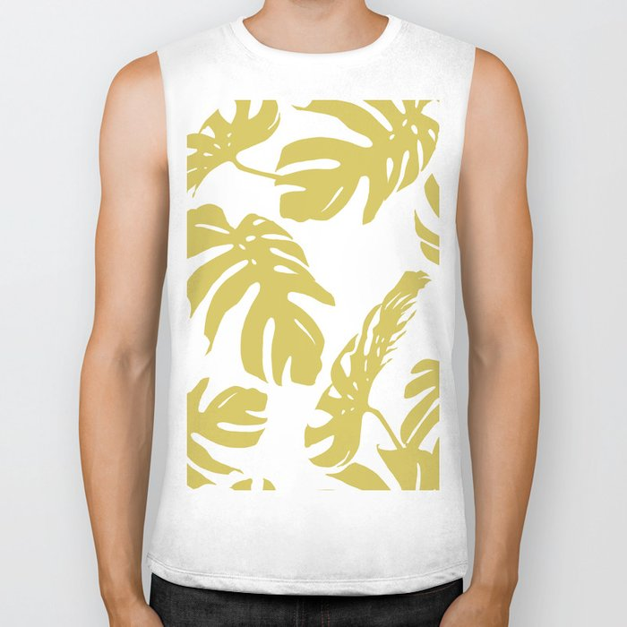 Simply Mod Yellow Palm Leaves Biker Tank