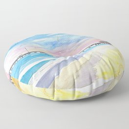 Outer Banks Pier At Nags Head At Sunset Floor Pillow