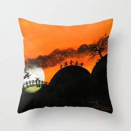 Hilly Haunted Trick r Treaters Throw Pillow
