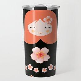 Russian Matryoshka Doll Girl Deconstructed with Flowers Travel Mug