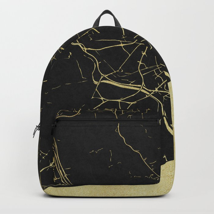Barcelona Black and Gold Map Backpack