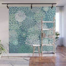Abstract Flower Garden Pattern, Teal and Green Wall Mural