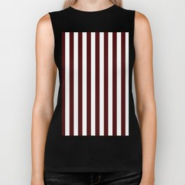 Narrow Vertical Stripes - White and Bulgarian Rose Red Biker Tank