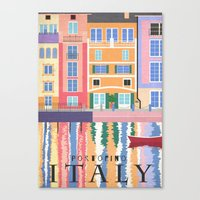 travel poster Canvas Prints featuring Travel Poster: Italy by Carly Watts