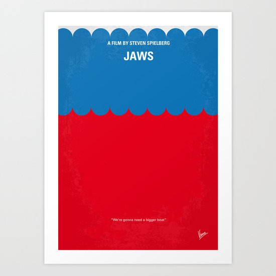 No046 My Jaws minimal movie poster Art Print