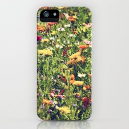 Happy summer meadow vintage style iPhone Case