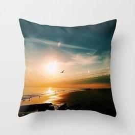 Winter Ocean Sunset Throw Pillow