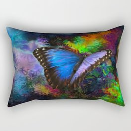 Blue Morpho Butterfly With Many Colors By Annie Zeno  Rectangular Pillow