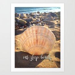 California sandy beach and seashell photo | Eat, sleep, beach Art Print