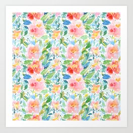Busy Watercolour Floral Art Print