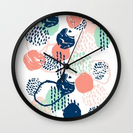 Abstract coral mint navy modern color palette basic canvas art for home Wall Clock