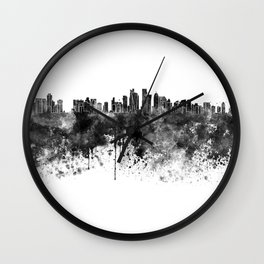 Doha skyline in black watercolor  Wall Clock