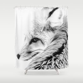 red fox digital acryl painting acrbw Shower Curtain