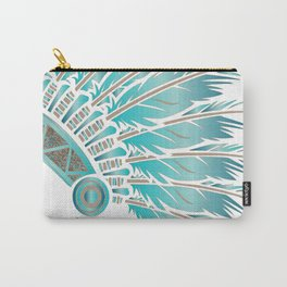 teal stencil headdress Carry-All Pouch
