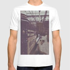 Cat in the Train Station  Mens Fitted Tee White MEDIUM