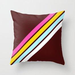 80's Style Retro Stripes Throw Pillow