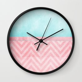 pink and turquoise chevron Wall Clock