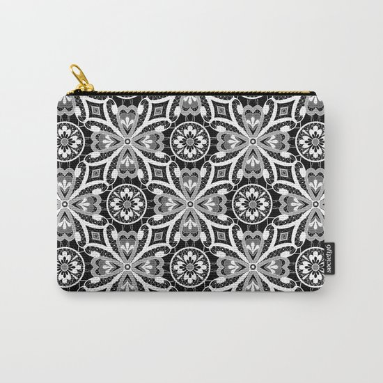 Retro . Lace black and white pattern . White lace on a black background . Carry-All Pouch