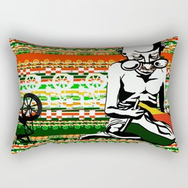 Ghandi and his Spinning Wheel Rectangular Pillow