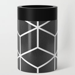 Charcoal and White - Geometric Textured Cube Design Can Cooler