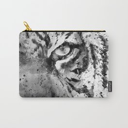 Black And White Half Faced Tiger Carry-All Pouch