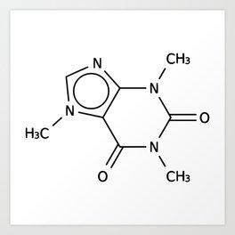 Molecular Structure of Caffeine Art Print