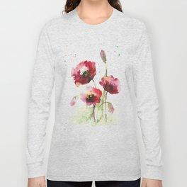 Watercolor flowers of poppy Long Sleeve T-shirt