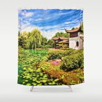 chinese Shower Curtains featuring Chinese Gardens by Photos By Healy