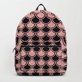 Mermaid Scales Rose Gold Pink on Black Backpack