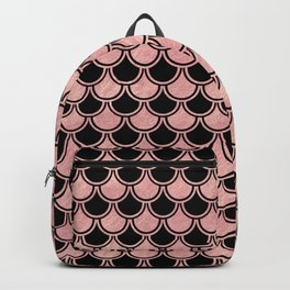 Mermaid Scales Rose Gold Pink on Black Backpack