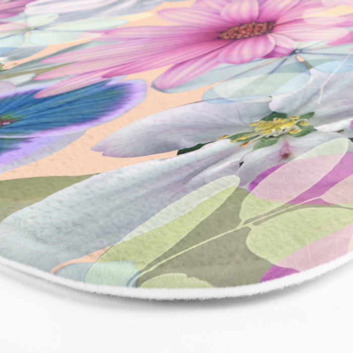 Pink and blue floral pattern Bath Mat