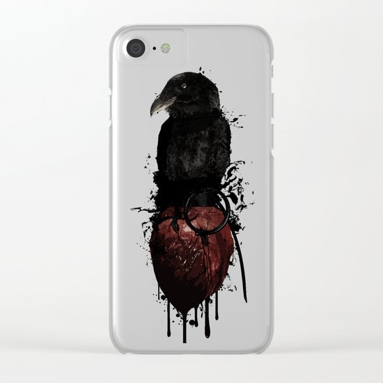 Raven and Heart Grenade Clear iPhone Case