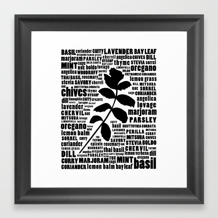 Herb typography kitchen art black and white wall art print framed art print by longfellowdesigns society6