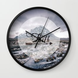 Have Faith Inspirational Typography Over Mountain Wall Clock