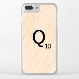 Scrabble Letter Q - Large Scrabble Tiles Clear iPhone Case