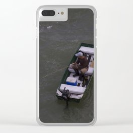 Fisherman Fishing on His Boat in Key Biscayne Miami Clear iPhone Case