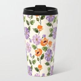 Rustic orange lavender ivory floral illustration Travel Mug