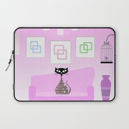 Mid-century cat with a living room companion - light pink Laptop Sleeve