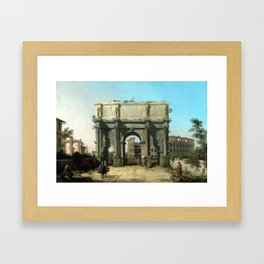 Canaletto Italian View of the Arch of Constantine with the Colosseum Framed Art Print